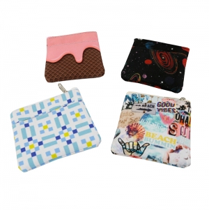 COIN PURSE DOUBLE POCKET AND CLASP, POLYESTER, FULL PRINT